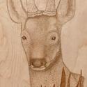 Őz, Képzőművészet, Grafika, Rajz, Illusztráció, Fotó, grafika, rajz, illusztráció, Pirográf kép: Őz :34x87cm. Ez a első őzről készített képem., Meska