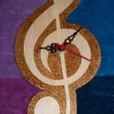 Falióra-violinkulcs, Dekoráció, Otthon, lakberendezés, Falióra, óra, Rétegelt lemezből készült falióra égetéssel díszítve violinkulcs formájú. Mérete: ~28cm ..., Meska