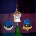 Karácsonyi dísz vagy hűtőmágnes, Dekoráció, Ünnepi dekoráció, Karácsonyi, adventi apróságok, Karácsonyi dekoráció, Rétegelt lemezből készült égetéssel és festéssel mintázott dísz vagy hűtőmágnes., Meska