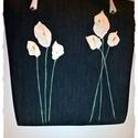Elegáns,nagyméretű farmer táska ,bőr virágokkal,bőr táskafüllel