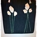 Nagyméretű farmer táska ,bőr virágokkal,bőr táskafüllel, Virágos táskát varrtam,üde tavaszias belsővel...
