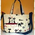 Cicás,macskás , kézi,vagy válltáska, Kényelmes méret,jól pakolható táskát varrtam...