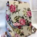 Rózsás romantikus női  #hátizsák, Anyák napja, Baba-mama-gyerek, Táska, Hátizsák, Erős bútorvászonból  varrtam ezt az egyedi hátizsákot.  Bőségét az ellipszis alakú steppel..., Meska