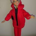 """Barbie babaruha """"Roberta"""", Baba-mama-gyerek, Játék, Baba-mama kellék, Baba, babaház, Barbie babaruha, piros, kapucnis, cipzáras, bélelt szabadidő ruha. Pihenéshez ideális viselet. :-) A..., Meska"""