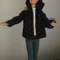"""Barbie babaruha """"Pötyi"""", Baba-mama-gyerek, Játék, Baba-mama kellék, Baba játék, Barbie babaruha, pöttyös, kapucnis, cipzáras, bélelt szabadidő felső. Pihenéshez ideális viselet. :-..., Meska"""
