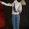"""Barbie babaruha """"Bori"""", Baba-mama-gyerek, Játék, Baba játék, Baba, babaház, Barbie babaruha, vitorlás mintás felső farmer nadrággal. A szabadidő eltöltéséhez ideális viselet. :..., Meska"""