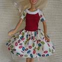 """Barbie ruha """"Szamóca"""", Baba-mama-gyerek, Játék, Baba játék, Baba, babaház, Egyedi, varrott Barbie nyári ruha, piros felsőrész, mintás szoknyával, pamut anyagból. Ideáli..., Meska"""