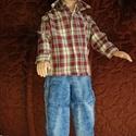 """Ken babaruha """"barna kockás ing"""", Baba-mama-gyerek, Játék, Baba játék, Baba, babaház, Egyedi, varrott, barna kockás, sportos ing Ken számára, mert a fiuk szeretnek öltözködni. :-) ..., Meska"""
