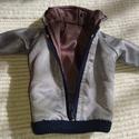 Ken babaruha szürke bélelt dzseki, Baba-mama-gyerek, Játék, Baba játék, Baba, babaház, Egyedi, varrott, bélelt vízhatlan széldzseki Ken számára, mert a fiuk is szeretnek öltözködni. :-) N..., Meska