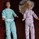 Barbie, Ken pizsama, Baba-mama-gyerek, Játék, Baba játék, Baba, babaház, Barbie és Ken számára készített színes, vidám, mintás pizsama. Az ár darabonként értendő..., Meska