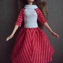"""Barbie babaruha """"Bea"""", Baba-mama-gyerek, Játék, Baba játék, Baba, babaház, Egyedi, varrott Barbie nyári ruha, fehér felsőrész, piros szoknyával, pamut anyagból. Ideális..., Meska"""