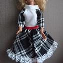 """Barbie baba ruha """"Zsüli"""", Baba-mama-gyerek, Baba-mama kellék, Gyerekszoba, Egyedi, varrott, Barbie ruha, pamut, fehér fekete kockás, elegáns, az utolsó párizsi divat szer..., Meska"""