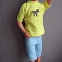 Barbie babaruha fiu, Baba-mama-gyerek, Baba-mama kellék, Egyedi, varrott, matricás polo Ken számára, mert a fiuk szeretnek öltözködni. :-) Nadrág kül..., Meska