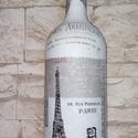 Párizs, Dekoráció, Otthon, lakberendezés, Kaspó, virágtartó, váza, korsó, cserép, Asztaldísz, Festett tárgyak, Mindenmás, Párizs és az Eiffel torony szerelmeseinek tökéletes ajándék lehet ez a borosüvegből  -dekupázs- tec..., Meska