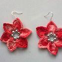 Horgolt virág fülbevaló, S.lila és piros színátmenetes puppets fonalból...