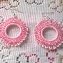 Horgolt fülbevaló, Ékszer, Ruha, divat, cipő, Fülbevaló, Nagyon szép rózsaszín puppets perlé fonalból horgoltam ezt a fülbevalót. Az akril gyöngy, amellyel d..., Meska