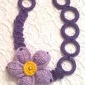 Horgolt nyaklánc, Ékszer, Ruha, divat, cipő, Nyaklánc, Világos lila és sötétlila Caprice fonalból horgoltam ezt a nyakláncot. A virág közepét v.sárga fonal..., Meska