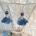 Horgolt virágocska, Ékszer, Ruha, divat, cipő, Fülbevaló, Kék melírozott fonalból horgoltam ezt az aranyos kis fülbevalót. Világos és sötétkék tekla..., Meska
