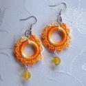 Narancs színátmenetes horgolt fülbevaló, Nagyon szép narancs sárga színátmenetes fonalb...