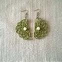 Zöld horgolt fülbevaló, Zöld Honleány fonalból horgoltam ezt a fülbeva...