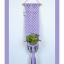 Makramé virágtartó - levendula (halvány lila) színű fali makramé virágtartó, Baba-mama-gyerek, Gyerekszoba, Mobildísz, függődísz, Tárolóeszköz - gyerekszobába, Levendula (halvány lila) színű, modern, letisztult stílusú virágtartó, melyet natúr bükkfa rúdra rög..., Meska
