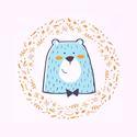 Medve - keretezett falikép, Mesél az erdő - keretezett kép menta és mustár színben, medve, erdei állatok, A4-es méretben, Baba-mama-gyerek, Gyerekszoba, Baba falikép, Képkeret, Állatos falikép Medvével, Mesél az erdő - keretezett kép menta és mustár színben, medve, erdei állat..., Meska