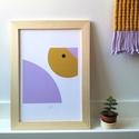 A4-es méretű illusztráció kislány szobába, kép stilizált madár mintával, mustár és levendula színű digitális print, Baba-mama-gyerek, Dekoráció, Gyerekszoba, Baba falikép, A4-es méretű illusztráció kislány szobába, kép stilizált madár mintával, mustár és levendula színű d..., Meska