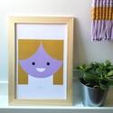 A4-es méretű illusztráció kislány szobába, kép stilizált kislány mintával, mustár és levendula színű digitális print, Baba-mama-gyerek, Dekoráció, Gyerekszoba, Baba falikép, A4-es méretű illusztráció kislány szobába, kép stilizált kislány mintával, mustár és levendula színű..., Meska