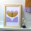 A4-es méretű illusztráció kislány szobába, kép stilizált virág mintával, mustár és levendula színű digitális print, Baba-mama-gyerek, Dekoráció, Gyerekszoba, Baba falikép, A4-es méretű illusztráció kislány szobába, kép stilizált virág mintával, mustár és levendula színű d..., Meska