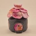Rózsaszín varázslat: fogtündér házikó és LED-es mécsestartó, Ékszergyurmából, egy kicsi üvegre készült fo...