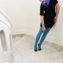 50% OFF feket-kék ruha, Ez a tervezésünk is pamutból készült, sztrecc...