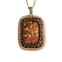 Bronz - rózsaszín gyöngyhímzett ásvány medál, Ékszer, Medál, Nyaklánc, Ezt az egyedi medált téglalap formájú ásványból gyöngyhímzéssel készítettem. A medálhoz továbbá japá..., Meska