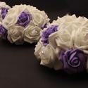 Autódísz, Esküvő, Esküvői csokor, Vákuumos autódísz tartóba készítettem el ezt a fehér és lila rózsákból álló kompozíciót.  Amennyiben..., Meska