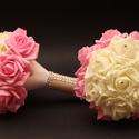 Koszorúslány csokor, Esküvő, Dekoráció, Esküvői csokor, Csokor, Rózsaszín és törtfehér átmenetben készítettem el a koszorúslányok csokrait (polifoam rózs..., Meska