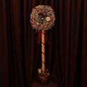 Karácsonyi dísz, Dekoráció, Karácsonyi, adventi apróságok, Ünnepi dekoráció, Karácsonyi dekoráció, Piros és arany színben pompázó karácsonyi ajtódísz. Magassága kb. 100 cm. , Meska