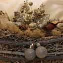 Szánkó, Dekoráció, Ünnepi dekoráció, Karácsonyi, adventi apróságok, Karácsonyi dekoráció, Rattan szánkó ezüst díszekkel és zuzmóval, Meska
