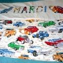 ovis, bölcsis takaró, ágynemű, Baba-mama-gyerek, Varrás, Patchwork, foltvarrás, A takaró egyik oldala pamutvászonból, rávarrt motívumokkal és névvel patchwork technikával készült...., Meska
