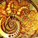 Asztal - festett üveg asztallap kovácsoltvas lábbal, Esküvő, Bútor, Otthon, lakberendezés, Asztal, Festett tárgyak, Üvegművészet, Saját tervezésű mintavilág alapján, egyedi, kézzel festett üveg asztallap. Narancs-piros-arany, de ..., Meska