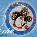 Óra - festett üveg pingvines falióra, Otthon, lakberendezés, Baba-mama-gyerek, Ékszer, óra, Falióra, Festett tárgyak, Üvegművészet, A termékek általában megrendelésre készülnek! Saját tervezésű mintavilág alapján, kézzel festett üv..., Meska