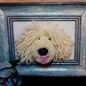 Komondor pompom kutya képkeretben, Dekoráció, Otthon, lakberendezés, Dísz, Asztaldísz, Ő egy karakteres komondor de akár pulikutya is lehet. Ahogy egy ismerősöm megjegyezte Pomondor.  Fon..., Meska