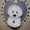 Bichon kutyus képkeretben, Dekoráció, Otthon, lakberendezés, Asztaldísz, Képkeret, tükör, Egy igazán csajszis ajándék lehet egy bichon kutyus gazdájának. A kutyus fonalból készült pompomból ..., Meska