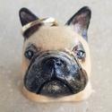 Francia bulldog, Férfiaknak, Otthon & lakás, Dekoráció, Dísz, Festett tárgyak, Kerámia, Kerámiaporból öntött,festett, lakkozott kutyus fejecske. A fajta kedvelőinek igazán egyedi ajándék ..., Meska