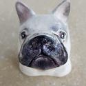 Francia bulldog, Férfiaknak, Otthon & lakás, Dekoráció, Dísz, Festett tárgyak, Kerámia,  Kerámiaporból öntött,festett, lakkozott kutyus fejecske. A fajta kedvelőinek igazán egyedi ajándék..., Meska