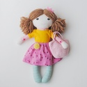 """Baba, Textilbaba, """"Kata tavasztündér"""", játékbaba, rongybaba , Játék, Baba-mama-gyerek, Baba, babaház, Plüssállat, rongyjáték, Kata,  a kis tavasztündér, 31 cm magas öltöztethető textilbaba, csíkos harisnyában, napsárga pólóban..., Meska"""