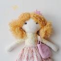 """Baba, Textilbaba, """"Panka tavasztündér"""", játékbaba, rongybaba , Játék, Baba-mama-gyerek, Baba, babaház, Plüssállat, rongyjáték, Panka,  a kis tavasztündér, 32 cm magas öltöztethető textilbaba, csíkos harisnyában, romantikus virá..., Meska"""