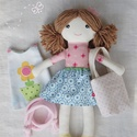 """Baba, Textilbaba, """"Réka baba"""", játékbaba, rongybaba , Játék, Baba-mama-gyerek, Baba, babaház, Plüssállat, rongyjáték, Baba-és bábkészítés, Varrás, Réka 35 cm magas öltöztethető textilbaba.  Arca részben kézzel hímzett, részben festett, haja kézi ..., Meska"""
