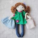 """Baba, Textilbaba, """"Petra baba"""", játékbaba, rongybaba , Játék, Baba-mama-gyerek, Baba, babaház, Plüssállat, rongyjáték, Baba-és bábkészítés, Varrás, Petra 35 cm magas öltöztethető textilbaba.  Arca részben kézzel hímzett, részben festett, haja kézi..., Meska"""