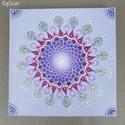 UNIVERZUM VIRÁGAI - lila-bíbor-arany-ezüst-fehér mandala - KORONACSAKRA-FANTÁZIA - csakra-sorozat, Dekoráció, Képzőművészet, Kép, Festmény, Festészet, Festett tárgyak, Adatok: 20 cm x 20 cm kerületű, 1,6 cm mélységű 3D feszített-alapozott vászonra pontozásos (dotilli..., Meska