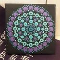 Mini mandala lila-menta, Dekoráció, Képzőművészet, Kép, Festmény, Festett tárgyak, Festészet, Pontfestő technikával készült mini mandala festmény. 10X10cm, Meska