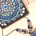 Mini mandala kék-fehér, Dekoráció, Képzőművészet, Kép, Festmény, Festett tárgyak, Festészet, Pontfestő technikával készült mini mandala festmény. A mediterrán területeken közkedvelt védő szem ..., Meska